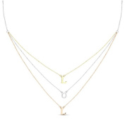 New Rose & Yellow Gold Over 925 Sterling Silver 'L O L' 3 Tier Cz Necklace