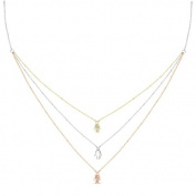 New Rose & Yellow Gold Over 925 Sterling Silver 'Hamsa' 3 Tier Cz Necklace