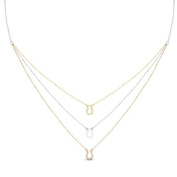 New Rose & Yellow Gold Over 925 Sterling Silver 'Horseshoe' 3 Tier Cz Necklace