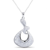 New 925 Sterling Silver Pave Setting Pendant with 46cm Chain