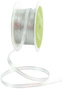 May Arts 0.6cm Wide Ribbon, Metallic Silver