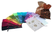Dozen of 16cm X 23cm Satin Embroidery Pull-close Pouches