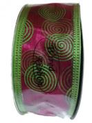 Wired Swirl Organza Ribbon By Creative Ideas, Hot Pink with Apple Green Edging & Swirls 3.8cm X 10 Yard Spool