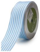 May Arts 3.8cm Wide Ribbon, Light Blue Grosgrain Stripe