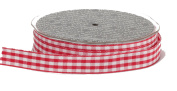 Ampelco Ribbon Company Vichy Cheque 27-Yard Ribbon, 1.6cm , Red/White Woven Edge