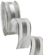 May Arts 2.5cm Wide Ribbon, Metallic Silver