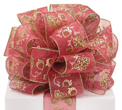 #40 Sheer Red Acorn Wired Ribbon