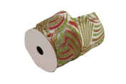 Renaissance 2000 Ribbon, 6.4cm , White Sheer with Green Red Firework