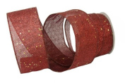 Renaissance 2000 Ribbon, 6.4cm , Red Glamour with Gold Glitz and Red Stamped Edge