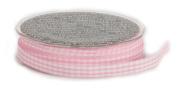 Ampelco Ribbon Company Vichy Cheque 37-Yard Ribbon, 1cm , Soft Pink/White Woven Edge