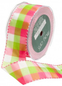 May Arts 3.8cm Wide Ribbon, Pink and Parrot Green Cheque