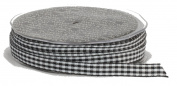 Ampelco Ribbon Company Vichy Cheque 37-Yard Ribbon, 1cm , Black/White Woven Edge