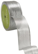 May Arts 3.8cm Wide Ribbon, Metallic Silver