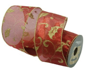 Renaissance 2000 Ribbon, 6.4cm , Red Organza with Gold Glitz Lamour