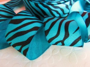 25 yards Roll/Spool Grosgrain 3.8cm Ribbon- Teal Blue/Black Wild Animal Zebra Print