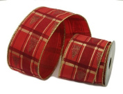 Renaissance 2000 Ribbon, 6.4cm , Red Half Velvet with Gold X-mas Trees
