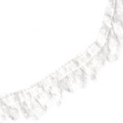 Venus Ribbon 1.9cm Stretch Ruffled Lace Trim, 5-Yard, Dyeable White