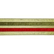 Vickerman 780210cm - 10cm x 10yd Sage / Red / Green Stripe Ribbon