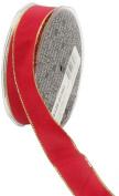 Ampelco Ribbon Company Gold Wired 27-Yard Taffeta Ribbon, 2.5cm , Scarlet Red