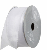 Jillson Roberts 3.5cm Wired Metallic Edge Sheer Ribbon, White/Silver, 6-Count