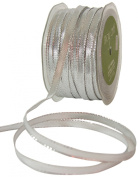 May Arts 0.6cm Wide Ribbon, Metallic Silver
