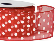 Sheer Wired Red with White Polka Dot Ribbon 6.4cm X 25 Yds