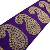 Royal Blue Fabric Wide Acrylic Thread Royal Trim Paisley Style Border Sewing 1 Yd