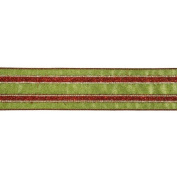 Ribbon Red and Green Stripe Wired Christmas Craft Ribbon 6.4cm x 10 Yards