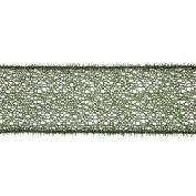 Green Glitter Mesh Tinsel Christmas Wired Craft Ribbon 10cm x 10 Yards
