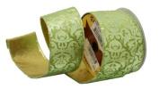 Renaissance 2000 Ribbon, 6.4cm , Green Velvet with Metallic Green Design