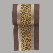 Diva Safari Gold Striped Leopard Print Wire Edged Christmas Ribbon 10cm x 10 Yards