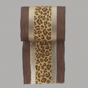 Diva Safari Gold Striped Leopard Print Wire Edged Christmas Ribbon 10cm x 10 Yards