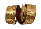 Renaissance 2000 Ribbon, 6.4cm , Red with Gold Design