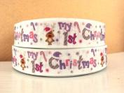 5 yards 2.5cm My First Christmas Grosgrain Ribbon