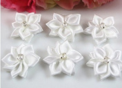 60pc Satin the Ribbon Flowers with the Appliques Craft DIY Wedding to White