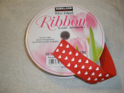 Wire-edged Ribbon, Red with White Hearts
