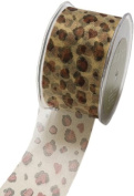 May Arts 5.1cm Wide Ribbon, Sheer Leopard Print