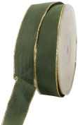 Ampelco Ribbon Company Gold Wired 27-Yard Taffeta Ribbon, 2.5cm , Forest Green