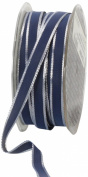 Ampelco Ribbon Company Silver Wired 54-Yard Taffeta Ribbon, 1cm , Navy