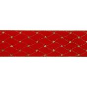 Vickerman 78040cm - 6.4cm x 10yd Red Velvet Diamond Net Ribbon