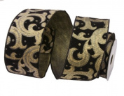 Renaissance 2000 Ribbon, 6.4cm , Gold Lamour on Black Velvet