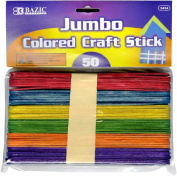 BAZIC Jumbo Coloured Craft Stick, Assorted, 50 Per Pack