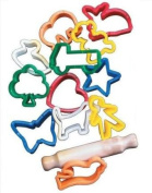School Smart Animals and Objects Clay Cutters and Rolling Pin - 5.1cm - Set of 12 - Assorted Colours
