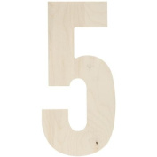 Baltic Birch Collegiate Font Letters & Numbers 34cm -Number 5
