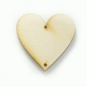 12 - Heart - 1 x 1 x 1/8 inch with 2 2mm holes unfinished wood