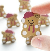 Painted Wood Mini Teddy Bear Cutouts for Crafts, Scrapbooking and Decorations - 96 Pcs
