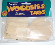 Forster Woodsie Tags, 12 Tags Unfinished Wood