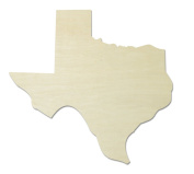 "UNFINISHEDWOODCO Unfinished State Wood Cutouts, ""Texas"""