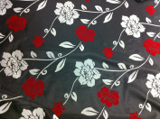 Black Taffeta with Red/white Velvet Flocking Fabric 150cm Wide By the Yard
