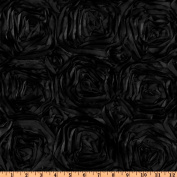 Splenda Satin Ribbon Rosette Black Home Decor Fabric